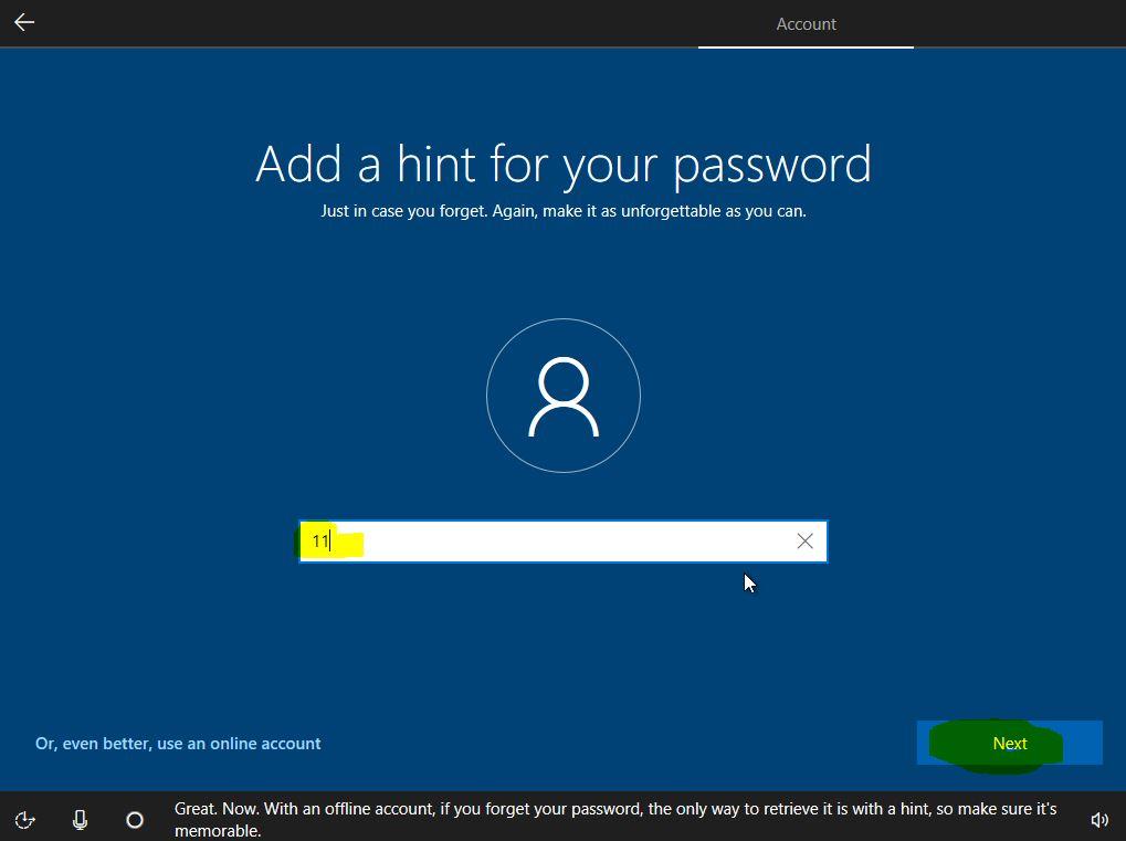 فراموشی رمز عبور با Hint