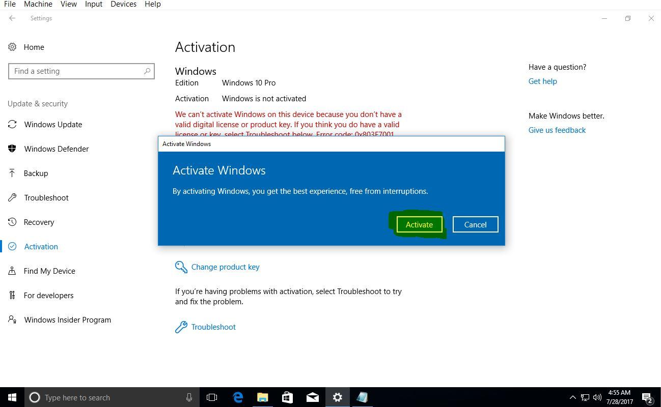 وارد کردن سریال نامبر در ویندوز 10