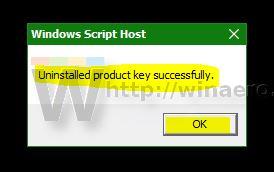 uninstalling the product key