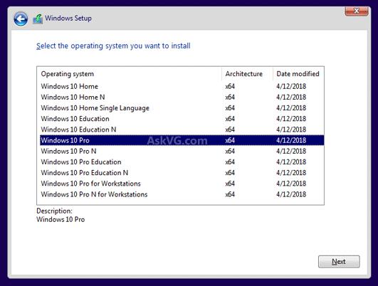 آموزش راه حل فعال کردن انتخاب ویندوز 10 پرو در هنگام نصب ویندوز